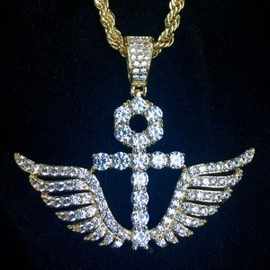 Other - ANKH WINGS FULL DIAMONDS CZ 18K GOLD CHAIN ITALY